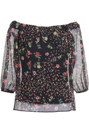 BAILEY 44 Off-the-shoulder floral-print crinkled-georgette top