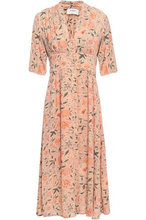 BA&SH Metallic floral-print jacquard midi shirt dress