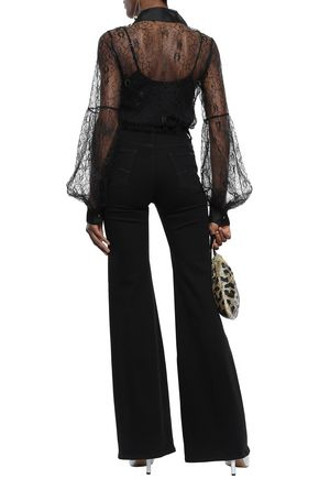 ALICE McCALL Silk organza-trimmed corded lace shirt