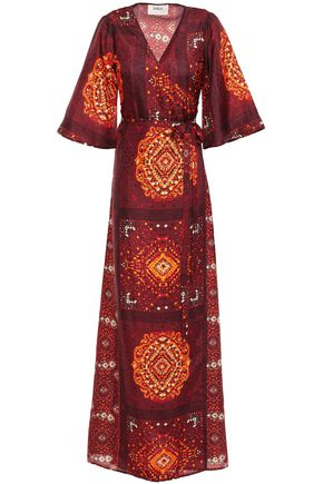 BA&SH Heart printed silk maxi wrap dress