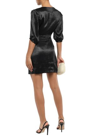 BA&SH Camil crinkled-satin mini wrap dress