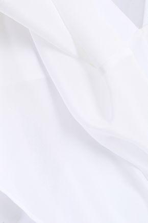 BAILEY 44 Cold-shoulder silk crepe de chine top