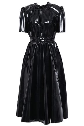 Gathered Bow Embellished Coated Jersey Midi Dress by Msgm