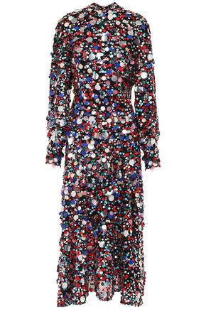 MSGM Sequined woven midi dress