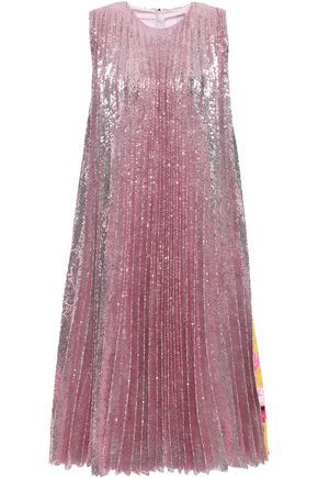 MSGM Pleated sequined tulle and printed crepe midi dress