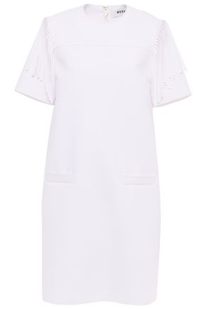 MSGM Fringe-trimmed crepe dress