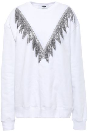 MSGM Crystal-embellished French cotton-terry sweatshirt