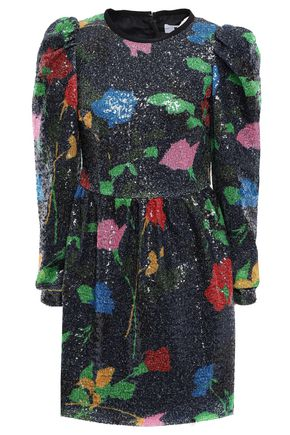 MSGM Sequined printed tulle mini dress