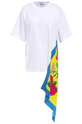 MSGM Draped crepe de chine-paneled cotton-jersey T-shirt