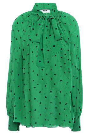 MSGM Pussy-bow polka-dot silk-chiffon blouse