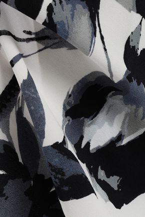 MICHELLE MASON Open-back printed silk-crepe camisole