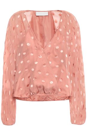 MICHELLE MASON Wrap-effect fil coupé silk-blend chiffon blouse