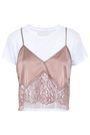MICHELLE MASON Layered lace-paneled silk-satin camisole and cotton-jersey T-shirt