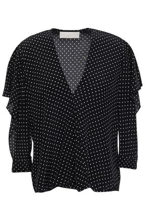 MICHELLE MASON Cutout ruffled polka-dot silk crepe de chine blouse