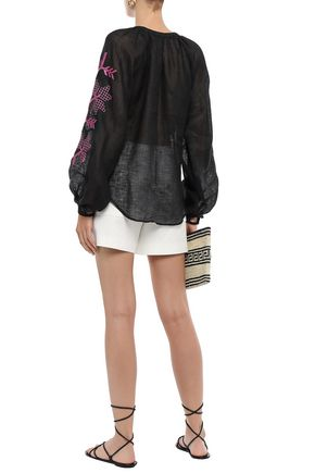 MARCH11 Valls embroidered tasseled linen-gauze blouse