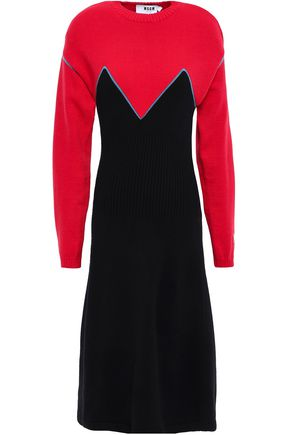 MSGM Color-block intarsia-knit midi dress