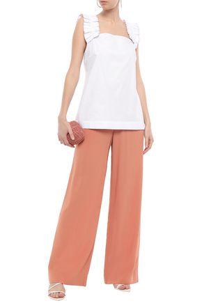 ISOLDA Ruched metallic-trimmed stretch-cotton poplin top