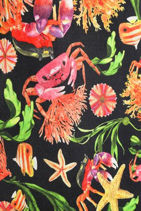 ISOLDA Printed cotton-blend mini dress
