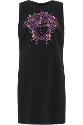 VERSACE Crystal-embellished embroidered stretch-crepe mini dress