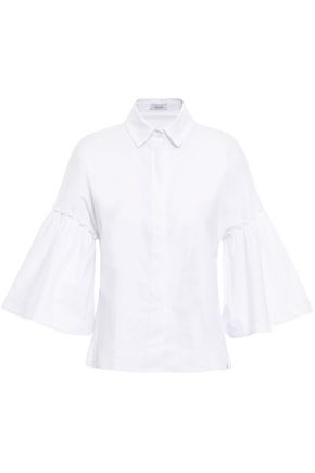 ISOLDA Ruffled stretch-cotton poplin shirt