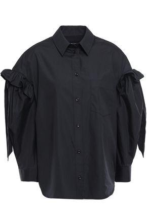 SIMONE ROCHA Bow-detailed ruffle-trimmed cotton-poplin shirt