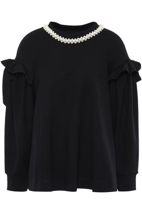 SIMONE ROCHA Bow-detailed faux pearl-embellished knitted sweatshirt