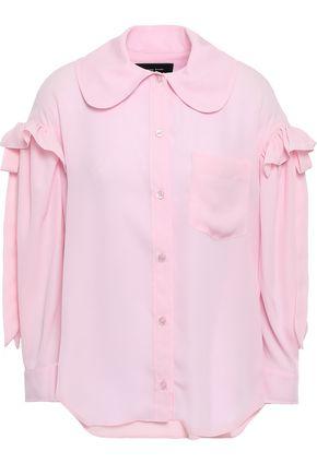 SIMONE ROCHA Bow-detailed ruffle-trimmed crepe shirt