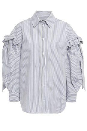 SIMONE ROCHA Bow-detailed ruffle-trimmed striped cotton-poplin shirt