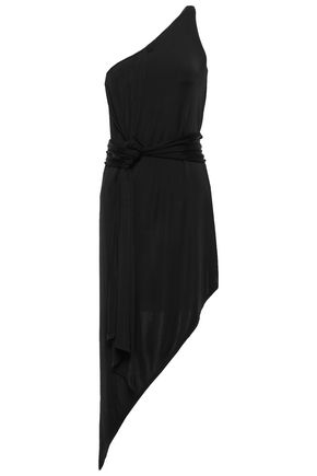MICHELLE MASON Asymmetric one-shoulder satin-jersey dress