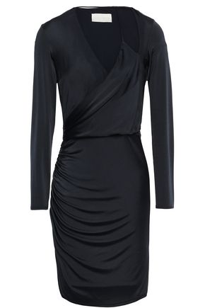 MICHELLE MASON Wrap-effect cutout satin-jersey mini dress