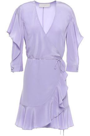 MICHELLE MASON Ruffled silk crepe de chine mini wrap dress