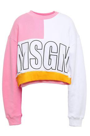 MSGM Color-block cotton sweatshirt