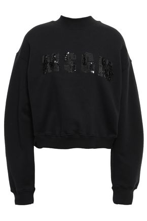 MSGM Embellished embroidered cotton sweatshirt