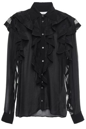 FAITH CONNEXION Ruffled lace-trimmed voile blouse