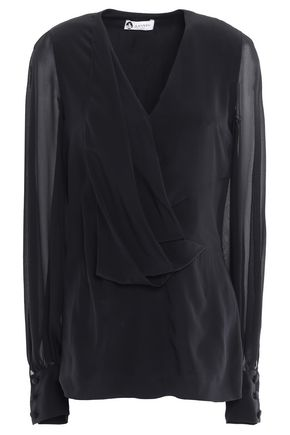 LANVIN Draped silk-chiffon blouse