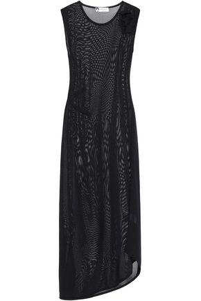 LANVIN Asymmetric floral-appliquéd knitted midi dress