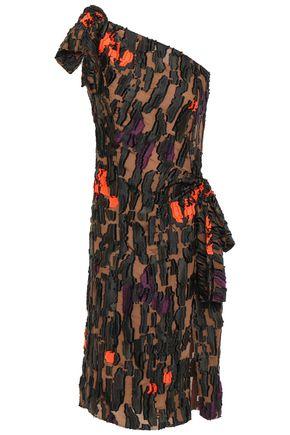 VERSACE One-shoulder knotted fil coupé dress