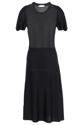 LANVIN Pointelle-trimmed knitted dress