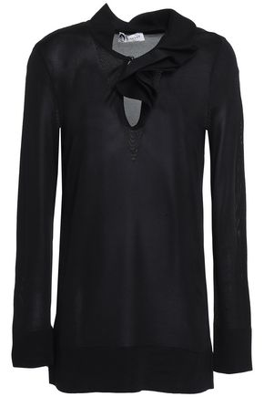 LANVIN Ruffle-trimmed stretch-knit top
