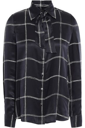 LANVIN Pussy-bow checked silk-satin shirt