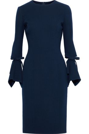 OSCAR DE LA RENTA Bow-detailed cutout wool-blend crepe dress