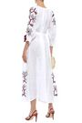 MARCH11 Val tie-front embroidered linen-gauze midi dress