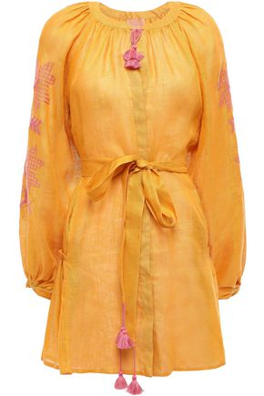 MARCH11 Val tie-front embroidered linen-gauze mini dress