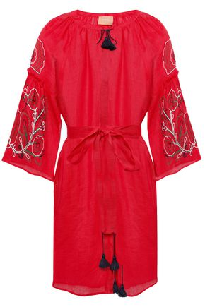 MARCH11 Lily embroidered tasseled linen-gauze kaftan