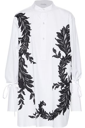 OSCAR DE LA RENTA Embroidered stretch-cotton poplin blouse
