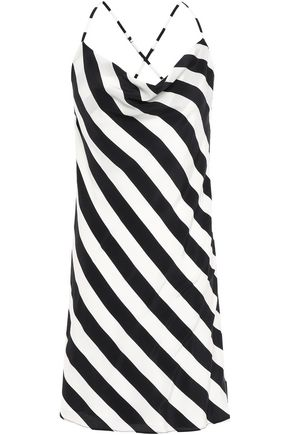 MICHELLE MASON Open-back striped silk crepe de chine mini dress