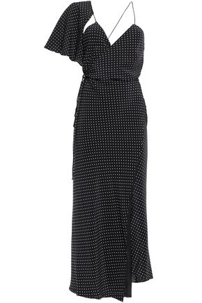 MICHELLE MASON Asymmetric draped polka-dot silk crepe de chine maxi dress