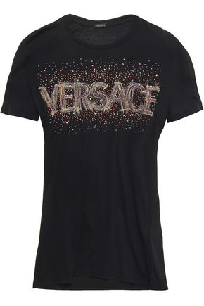VERSACE Embroidered crystal-embellished jersey T-shirt