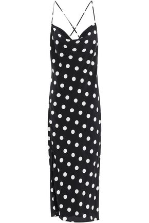 MICHELLE MASON Open-back polka-dot silk crepe de chine midi dress