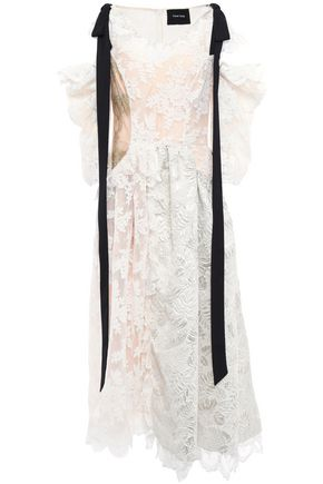 SIMONE ROCHA Cloqué-paneled bow-embellished corded lace and tulle midi dress
